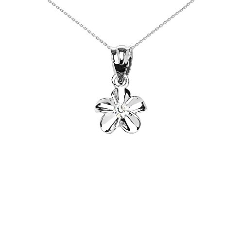 (Delicate 10k White Gold Hawaiian Plumeria White CZ Charm Pendant Necklace, 16