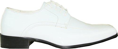 VANGELO Men Tuxedo Shoe TUX-5 Fashion Square Toe for Wedding Formal Event White Patent 9W WhHPGF