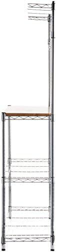 "31jbM5g66zL. AC Amazon Basics Kitchen Storage Baker's Rack with Wood Table, Chrome/Wood - 63.4"" Height    An Amazon Brand"