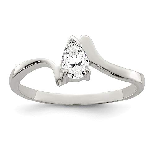 925 Sterling Silver Pear Shaped Cubic Zirconia Cz Band Ring Size 6.00 Fine Jewelry For Women Gifts For Her