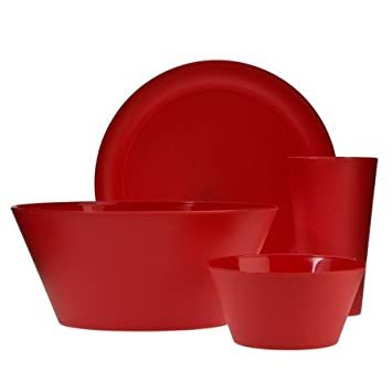 Polypropylene 13-pc. Dinnerware Set - Cherry  sc 1 st  Amazon.com & Amazon.com | Polypropylene 13-pc. Dinnerware Set - Cherry ...