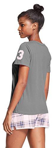 U.S. Polo Assn. Womens 2 Piece Cap Sleeve Shirt Elastic Waist Pajama Shorts Set Charcoal Heather Cloud Large