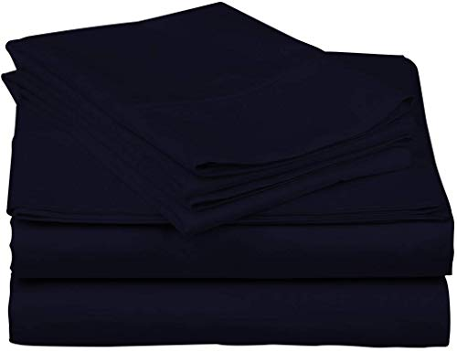 - TheSignature Luxury 800-Thread-Count 100% Egyptian Cotton Bed Sheets, 4-Pc Queen Navy Blue Sheet Set, Single Ply Long-Staple Yarns, Soft& Smooth, Fits Mattress Upto 16'' Deep Pocket