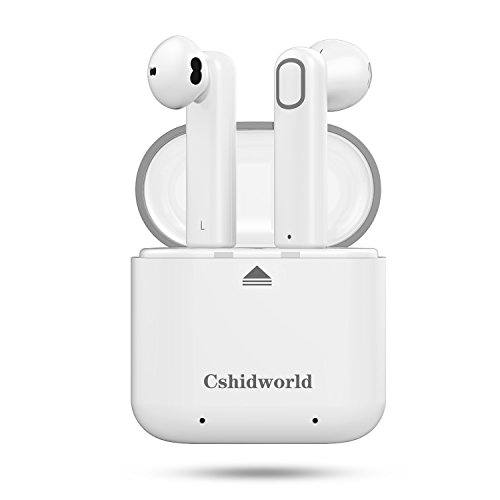 Wireless Earbuds, Cshidworld Dual Bluetooth Headphones V4.2 True Mini In-Ear Headset Stereo Sports Earphone Sweatproof with Charging Box Noise Cancelling for Apple iPhone X 8 8plus 7 7plus 6S Samsung
