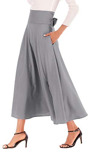 (Calvin & Sally Women's Solid High Waisted Full Maxi Skirt Pocket Long Skirt Dresses (Grey XL))