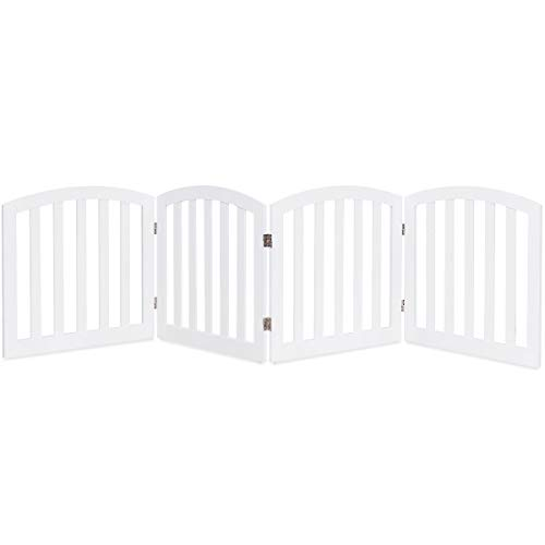 Giantex 24 Dog Gate with Arched Top for Doorway and Stairs, Configurable Free Standing Wooden Gate with Foldable Panels and Sturdy Metal Hinges, Pet Dog Safety Fence (96 W, White)