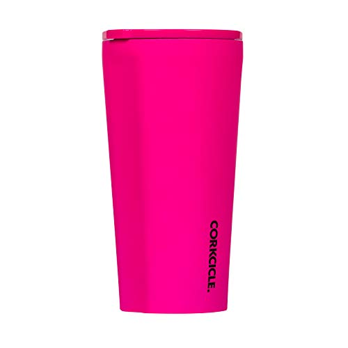 Corkcicle Tumbler - Neon Lights Collection - Triple Insulated Stainless Steel Travel Mug, Neon Pink, 16oz
