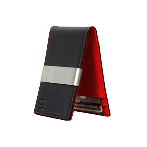 F&H Minimalist Slim Leather Wallet Money Clip Holds 8 Cards (Black/Red)