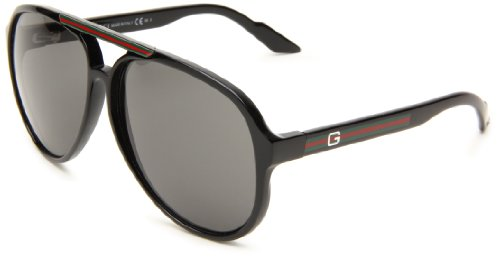 Gucci Men's 1627/S Aviator Sunglasses,Shiny Black Frame/Grey Lens,One - Mens Gucci Sunglasses Black