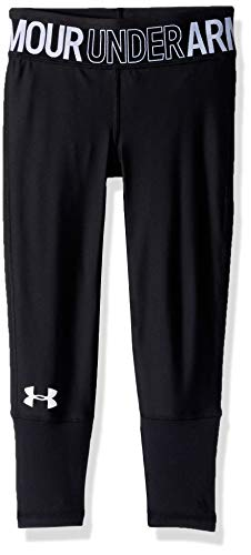 (Under Armour HeatGear Armour Novelty Ankle Crop, Black//White, Youth X-Large)