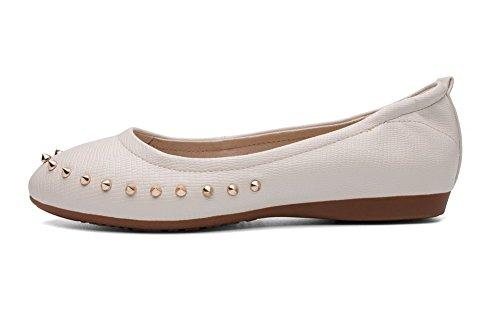 Amoonyfashion Mujeres Pu Solid Pull-on Acentuado Cerrado Toe-heel-flats-Zapatos Beige
