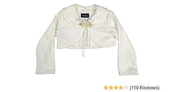 bc03e234e7a86 Amazon.com: Cozy Long Sleeve Bolero Jacket Cover - Ivory Girl 1/2: Apparel  Accessories: Clothing