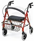 """Rolling Walker - Blue Petite Mini 400 lb capacity, offers an oversized padded seat (2""""-3"""" wider then conventional walkers) that allow greater user comfort when resting. Big 8"""" solid oversize tires will never puncture and provide a soft ride on any terrain."""