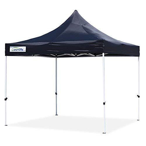 Goutime 10x10 Ft Pop Up Canopy, Outdoor Instant Canopy Tent, Waterproof Ez Up Shelter for Beach, Backyard, Tailgate, Party (Black) ()