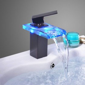 Oil Rubbed Bronze Color Changing Led Waterfall Bathroom Sink Faucet Touch On Bathroom Sink