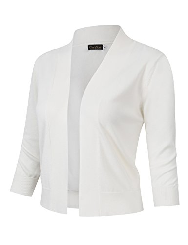GloryStar Women's 3/4 Sleeve Open Front Cropped Cardigan Sweater Lightweight Knit Short Shrugs White L