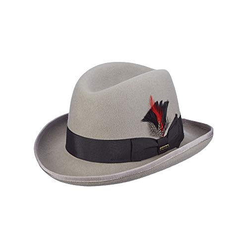 Crease Center Fedora Hat - Scala Classico Men's Wool Felt Homburg Hat, Light Grey, Large