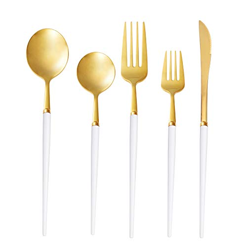 20 Piece Flatware Set RTT Stainless Steel Utensil Set for 4 Tableware Cutlery Set Dishwasher Safe Hostess Set with…