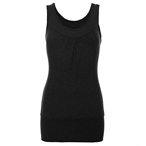 Oops Outlet - Camiseta sin mangas - Sin mangas - para mujer Black - Casual Cocktail Dress Vest Long Top
