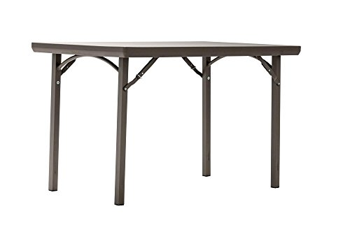 "ZOWN 48"" (4 ft) 300 lb. Use Rate Rectangular Heavy Duty Blow Mold Banquet Folding Table with End of Table Seating, Brown - Square Corner Table Seating"
