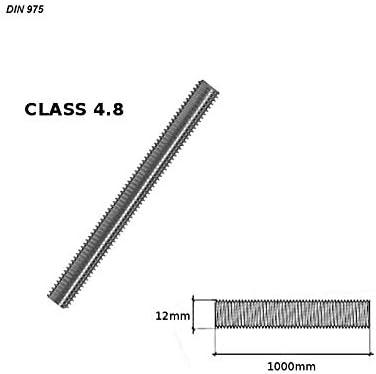 Moderix 10x Gewindestange DIN 975 Gewindestangen 1m Gewindestab Bolzen M12 x1000mm