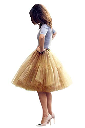 Babyonlinedress Women's Short A line Elastic Dance Skirt Prom Party Tutu Skirt(Gold,One Size)