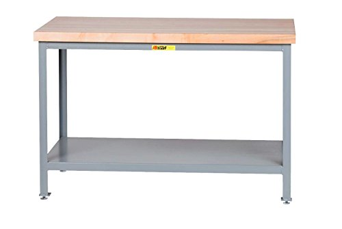 (Little Giant WTS-2436-LL Steel Butcher Block Top Table, 1 Lower Shelf, 2000 lb. Load Capacity, 32