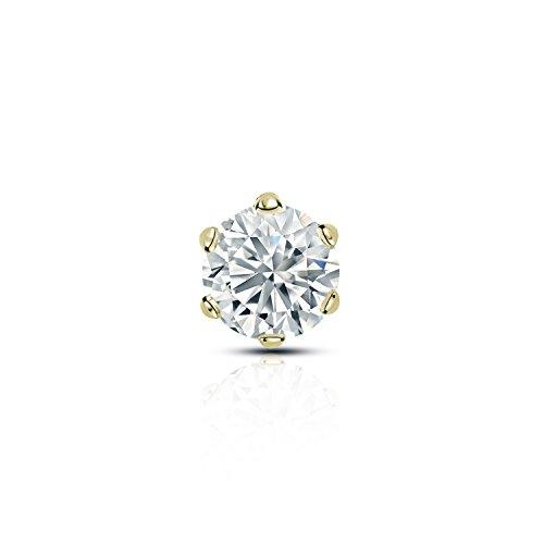 (Diamond Wish 14k Yellow Gold Single Stud Round Diamond Earring (1/4 ct, O. White, I2-I3) 6-Prong Basket with Screw-Back)