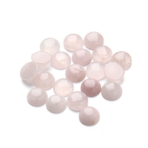 12mm Round Cut Gem - Linsoir Beads Sweet Pink Quartz Cabochons Round Flatback Gemstone Beads 12mm Pack of 20