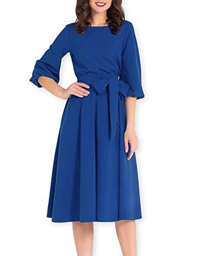 AOOKSMERY Women Elegance Audrey Hepburn Style Round Neck 3/4 Puff Sleeve Puffy Swing Midi Dress with Belt (Sapphire, Large)