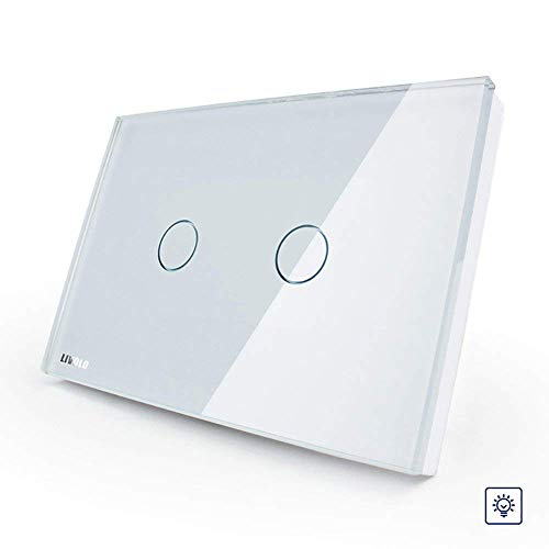 LIVOLO White US/AU Standard 2 Gang 1 Way Dimmer Touch Switch With Tempered Glass Panel,AC110~220V LED Indicator,C302D-81