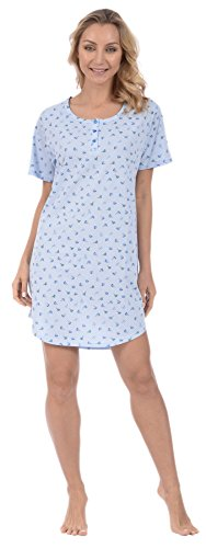 Ladies Woman Nightshirts (Pink Lady Women's Nightshirt Short Sleeve Loungewear PJ Print (Blue Floral Small))