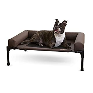 K&H Pet Products Original Bolster Pet Cot Elevated Pet Bed with Removable Bolsters - Chocolate/Black Mesh, Medium 25 X 32 X 7 Inches