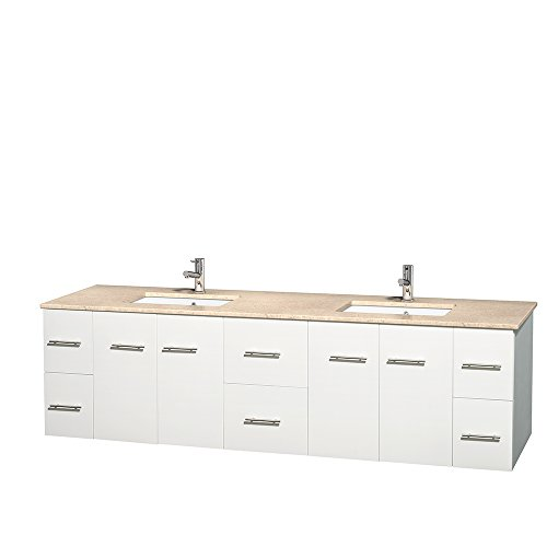 Centra 80 Inch Double Bathroom Vanity In Matte White Ivory Marble Countertop Undermount Square
