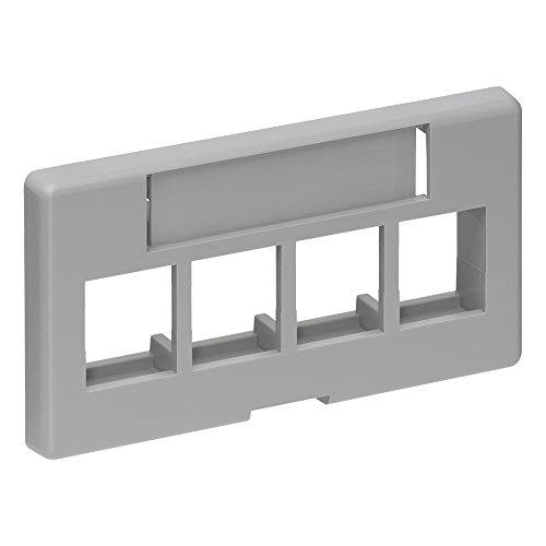 - Leviton 49910-SG4 4-Port QuickPort Modular Furniture Faceplate, Grey