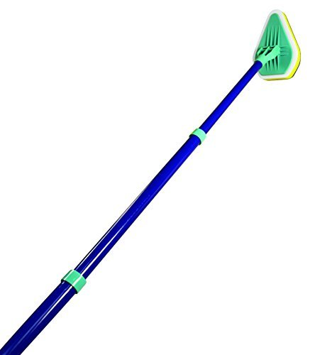 Clean Reach Deluxe Power Scrubber Bathtub Cleaner and Kitchen Brush with Metal Handle, Blue, Yellow, Green