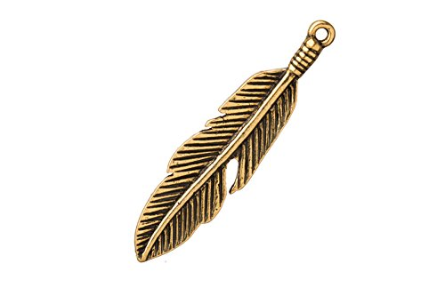 Charm/Pendant Native Indian Feather 18K Antique-Gold Finished 11.7X43mm sold per 4pcs/pack (3packs bundle), SAVE (Wholesale Native American Art)