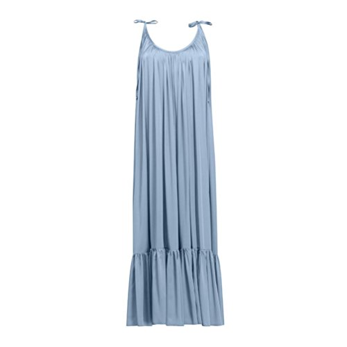 TiTCool Womens Maxi Dresses Sleeveless Backless Big Ruffle Hem Long Dress for Evening Party Beach (XL, Blue) by TiTCool (Image #3)