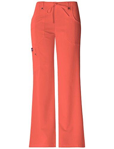 Leg Dickies Wide (Dickies Xtreme Stretch Women's 82011 Drawstring Flare Leg Scrub Pant- Mango Tango- Small Petite)