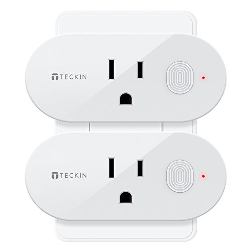 Smart Plug Wifi Outlet Compatible With Alexa, Echo, Google Home and IFTTT, Teckin Mini Smart Socket with Energy Monitoring and Timer Function, No Hub Required, 16A, (2 Pack) (Plug 16a)