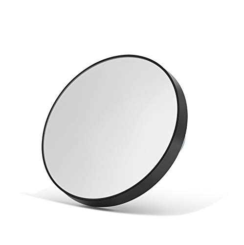 OMIRO 10X Magnifying Makeup Mirror with 2 Suction Cups, Travel Size Round Black 3.5