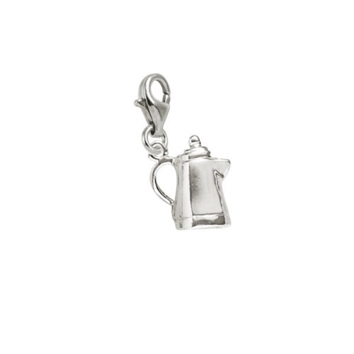 Rembrandt Charms Coffee Pot Charm with Lobster Clasp, Sterling Silver