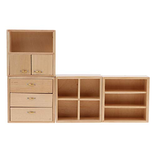 NATFUR Mini Natural Wood Combined Cabinet Furniture for 1:12 Dollhouse Accessories