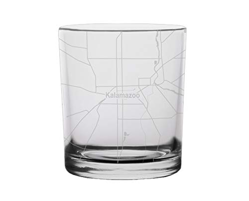 Kalamazoo City Map Whiskey Glass Michigan, used for sale  Delivered anywhere in USA