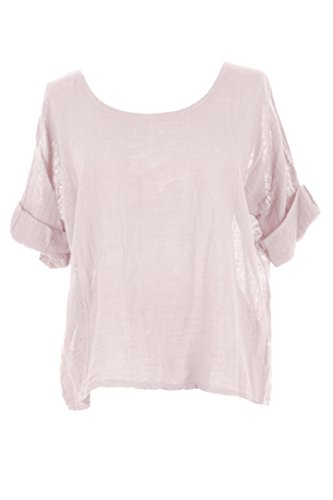Women Blouse Linen Lagenlook Top One TEXTURE Cotton Italian Crop Plain Ladies Size Pale Pink fxpq5