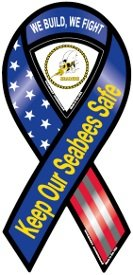 Seabees Red, White, and Blue Ribbon Magnet by Magnet America