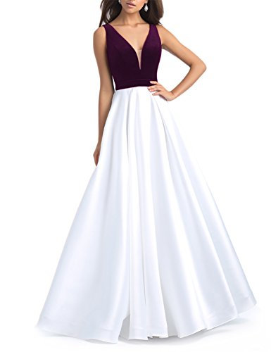 YIRENWANSHA Newly fashioned V Neck Contrast Color Velvet 2018 Long Sexy Prom Party Dresses For Women Evening Formal Celebrity HPM139 White&Purple Size - Up To As Dress Celebrities Female
