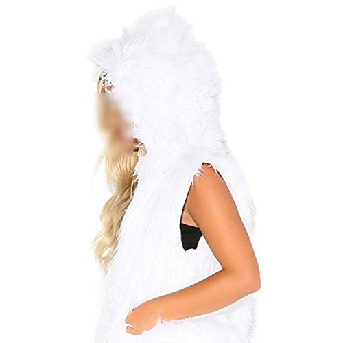 Led Noël Gilet Fourrure Fausse Femmes Costume Goyfeelip Cardigan Manteau Capuche White De Lumière Hiver À dw4ACx