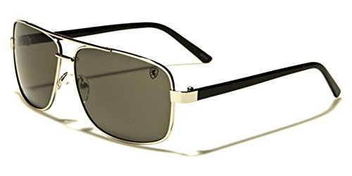 Square Retro 80s Aviator Sunglasses Men's Women's Metal Fashion Glasses Black Gold Silver - Sunglasses Navigator