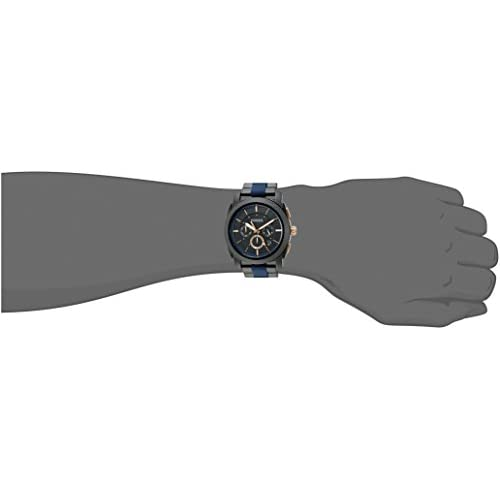 Fossil Men's Machine Quartz Two-Tone Stainless Steel and Silicone Chronograph Watch, Color: Black, Blue (Model: FS5164)